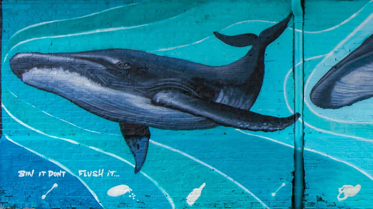 Brave Arts  painting 2 blue whales Southend h street. SAVS triple t's youth clubs & Anglian water