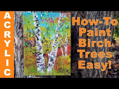 How to Paint Birch Trees Quickly with Acrylics & a Palette Knife!