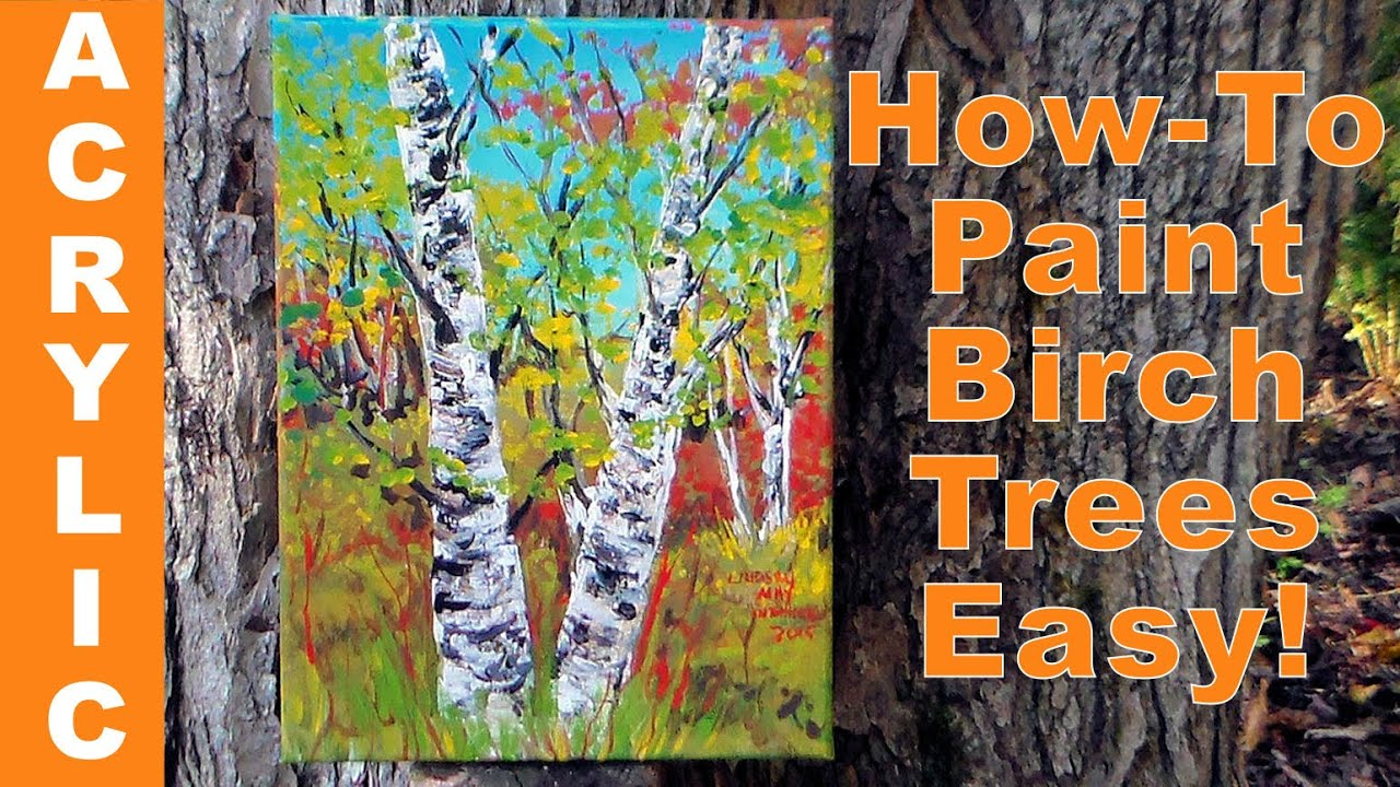 how to paint birch trees quickly with acrylics a palette knife youtube. Black Bedroom Furniture Sets. Home Design Ideas