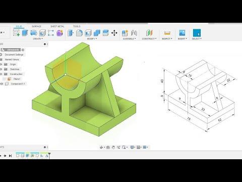 Fusion 360 beginner's Exercise #2 - Fusion 360 tutorial thumbnail