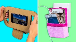31CARDBOARD REUSING PROJECTS THAT WON'T COST YOU A PENNY || Phone Holder and Decor Hacks