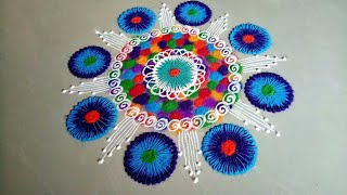 Easy and creative multicolor rangoli design   #multicolored #rangoli