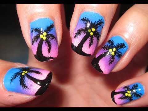 Summer Tropical Ombre Sunset Nail Tutorial Youtube