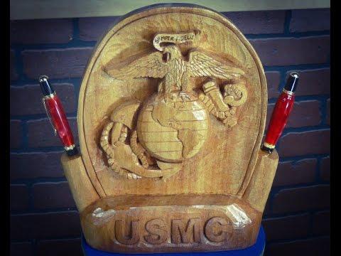 Wood Carving a Marine Corps Emblem Desk Set and Pen