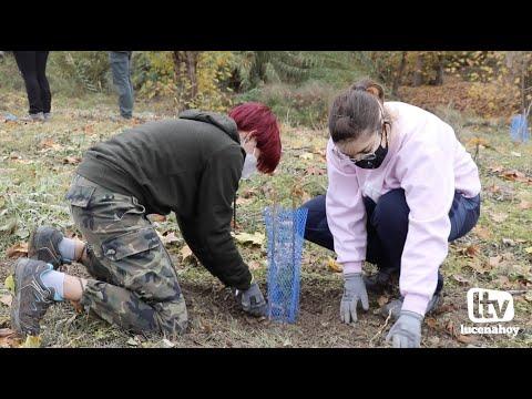 VÍDEO: Enea recoge basura y planta medio centenar de plantones de árboles en El Cascajar