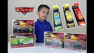 2018 Disney Cars 3 Toys   Lightning McQueen FLOYD MULVIHILL BRIAN SPARK Cars 3 Diecast Launchers