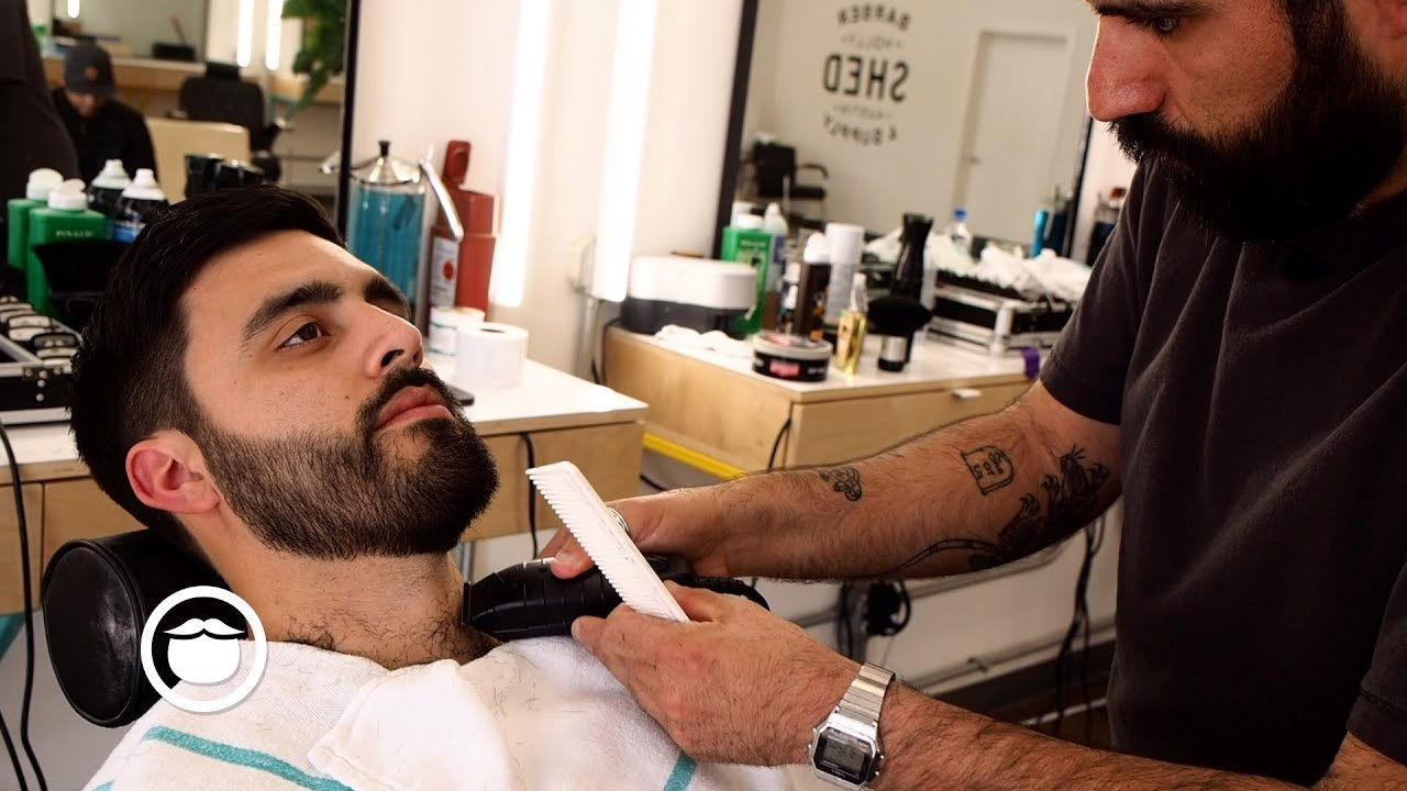 American Barber Shows How A Haircut And Beard Trim Are Done Shed