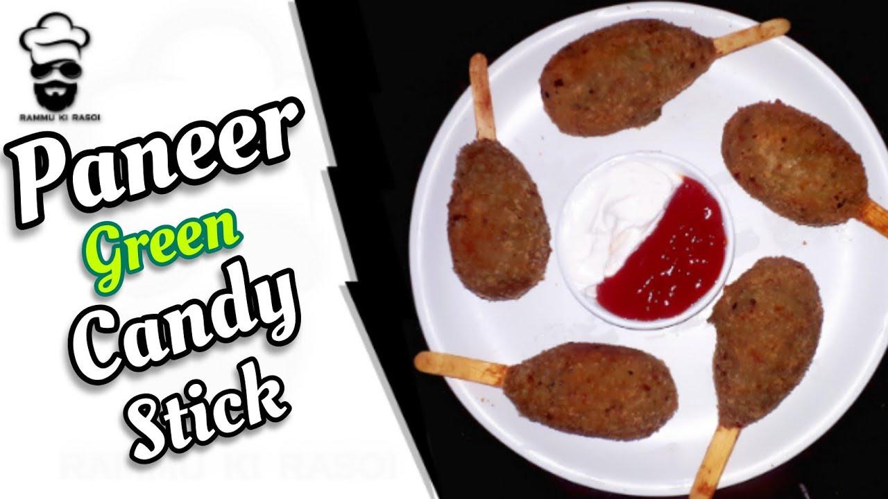 Paneer Green Candy Stick | Homemade |Easyrecipe