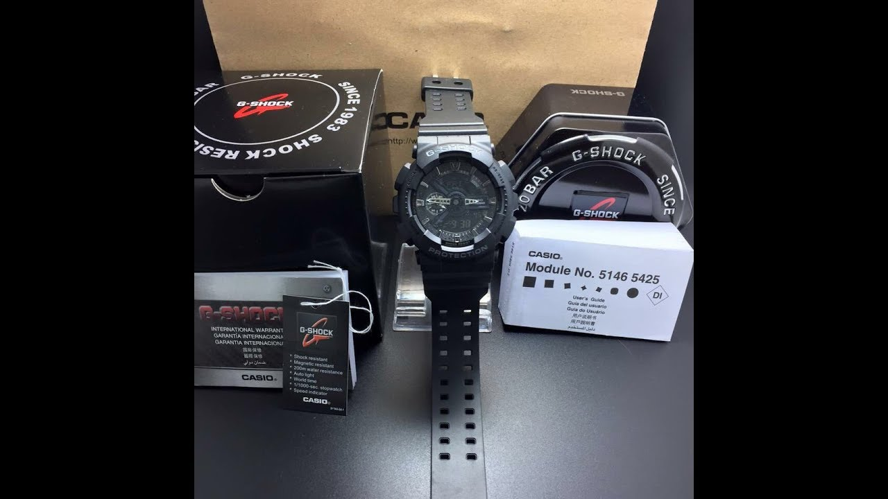 157811b560d Casio G-Shock GA110-1B Full Black Digital Analógico. - YouTube