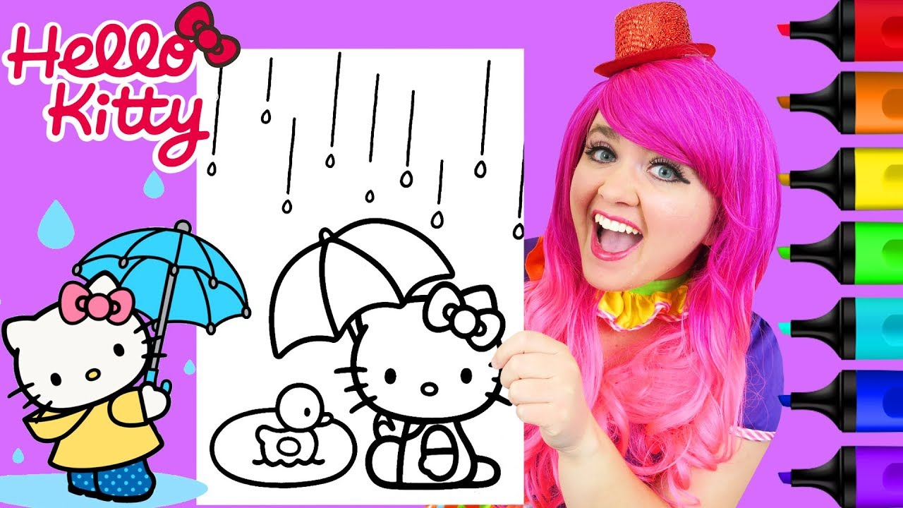 Coloring Hello Kitty & Duck Rainy Day Coloring Page Prismacolor Markers   KiMMi THE CLOWN