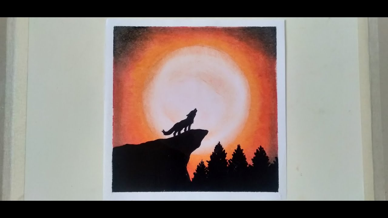 HOWLING WOLF | OIL PASTEL/PAINTING