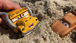 Disney Cars 3 Toys at the Beach - Lightning McQueen & Miss Fritter Playing in the Sand with Trucks