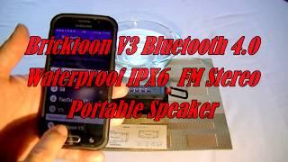 Bricktoon V3 Bluetooth 4.0 IPX6 Waterproof FM Stereo Video 1 12 13 16
