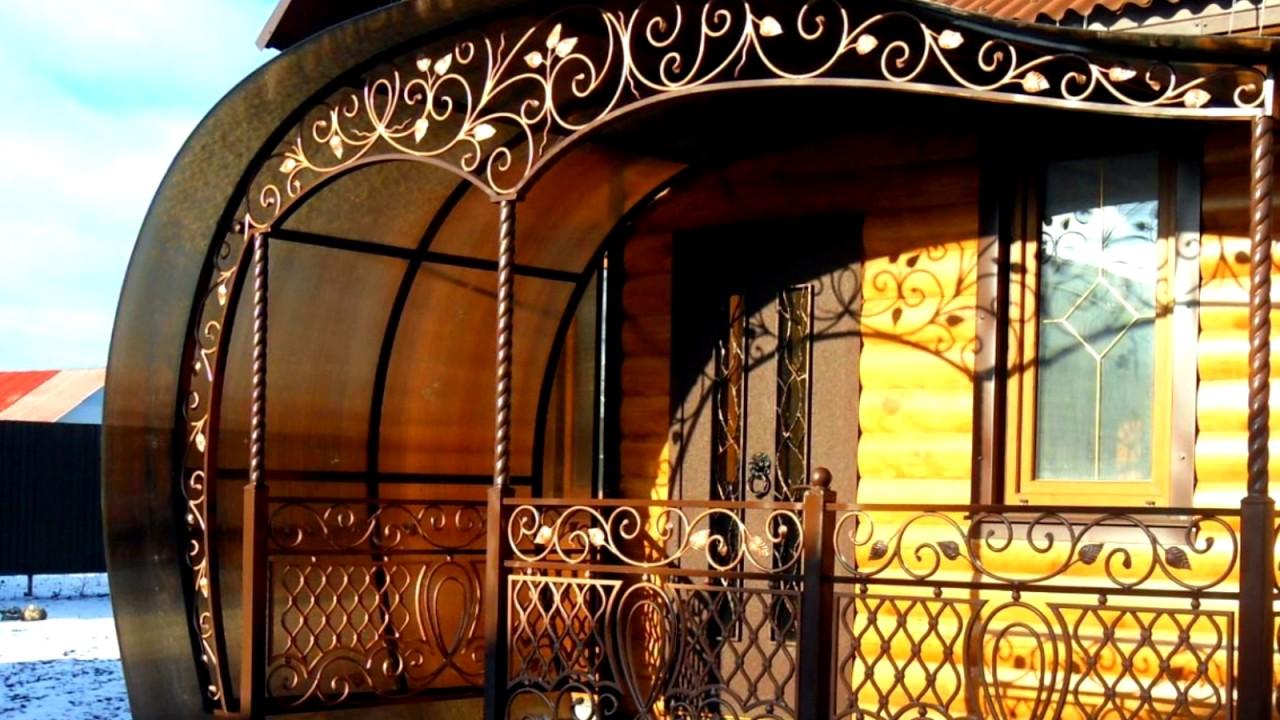 Фото кованых козырьков: над дверями, над входом, крыльцом.