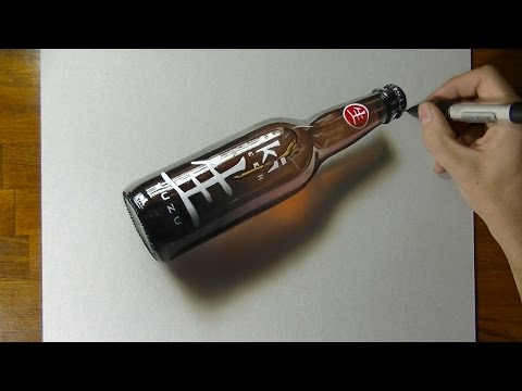 Hyper-realism, 3D Art , Drawing a bottle