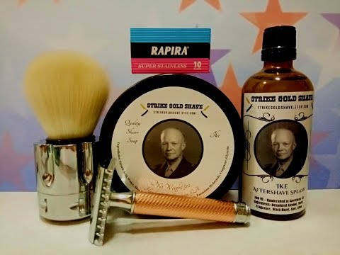 Muhle R41, Strike Gold Shave Ike soap and aftershave