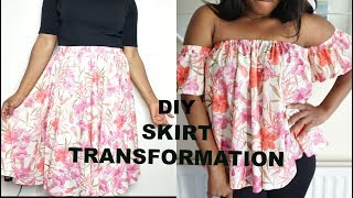 DIY OFF THE SHOULDER TOP || SKIRT TRANSFORMATION TO A TOP || CLOTHING HACK
