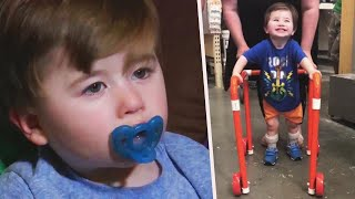 2-Year-Old Beams as He Gets Homemade Home Depot Walker