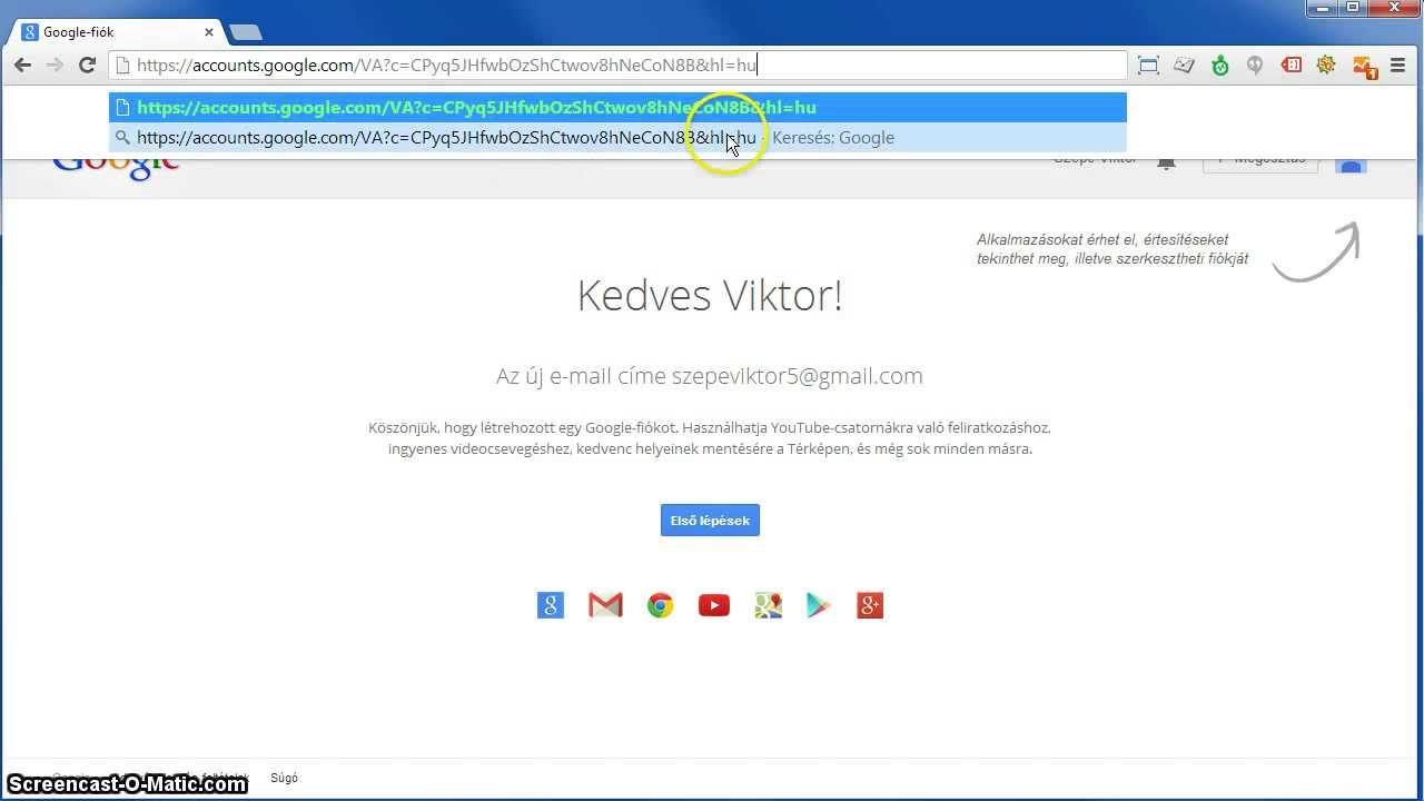 0d63905161 Google fiók létrehozás - meglévő email címmel bejelentkezés - YouTube