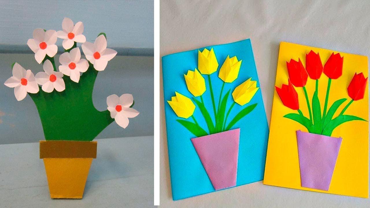 первой открытки с 8 мартом поделки с детьми слой немного затемняем