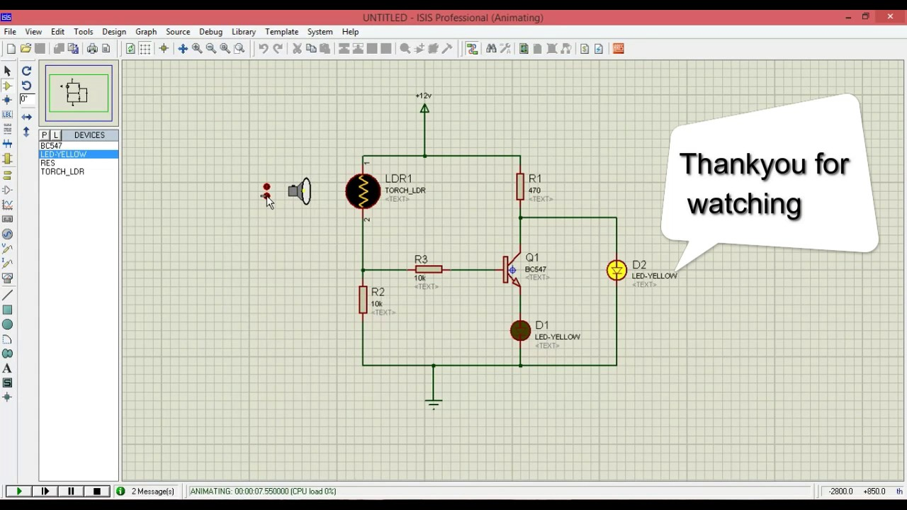 ldr circuit using transistor in proteus - YouTube