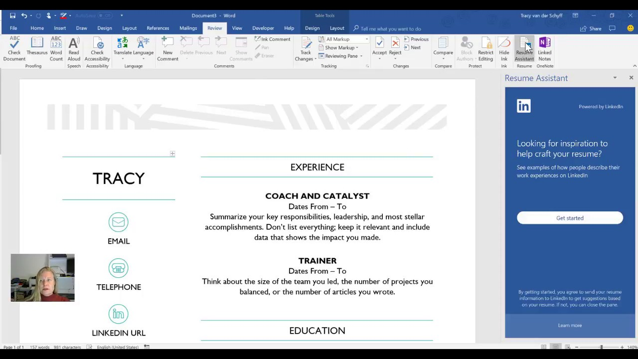 Microsoft365 Day 201: Get help from LinkedIn in Word Resume ...