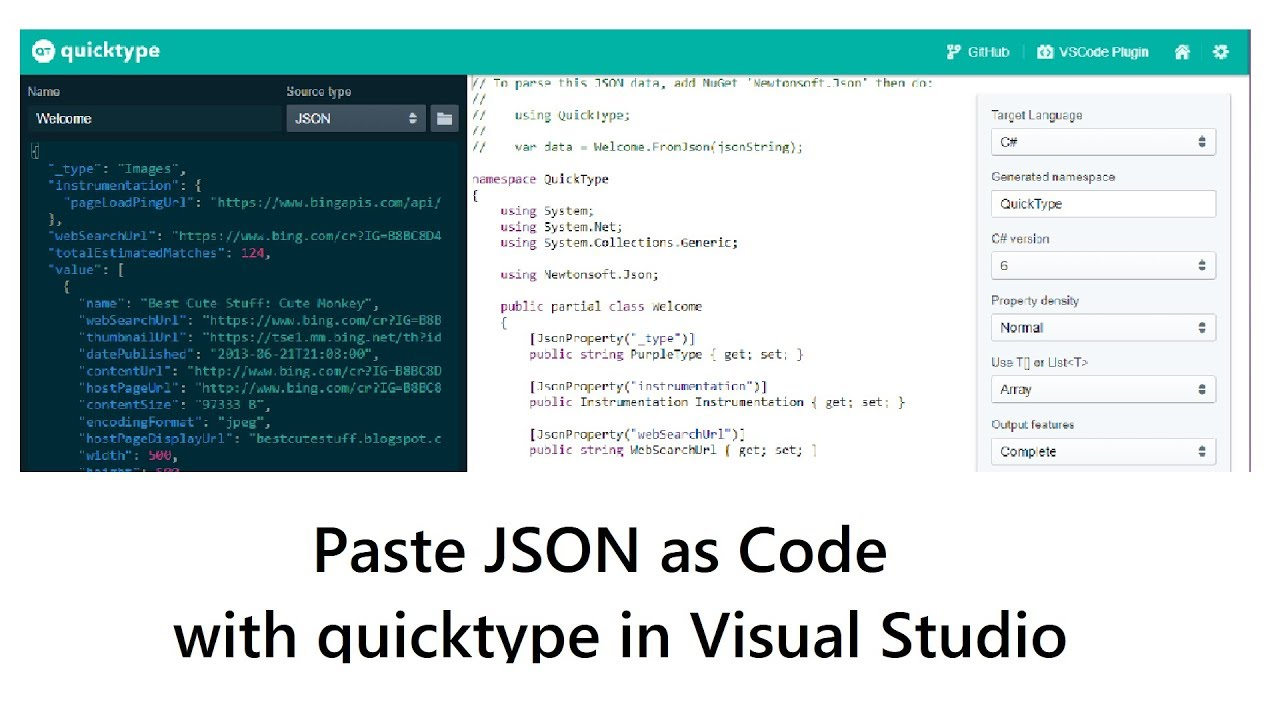 Paste JSON as Code with quicktype io in Visual Studio