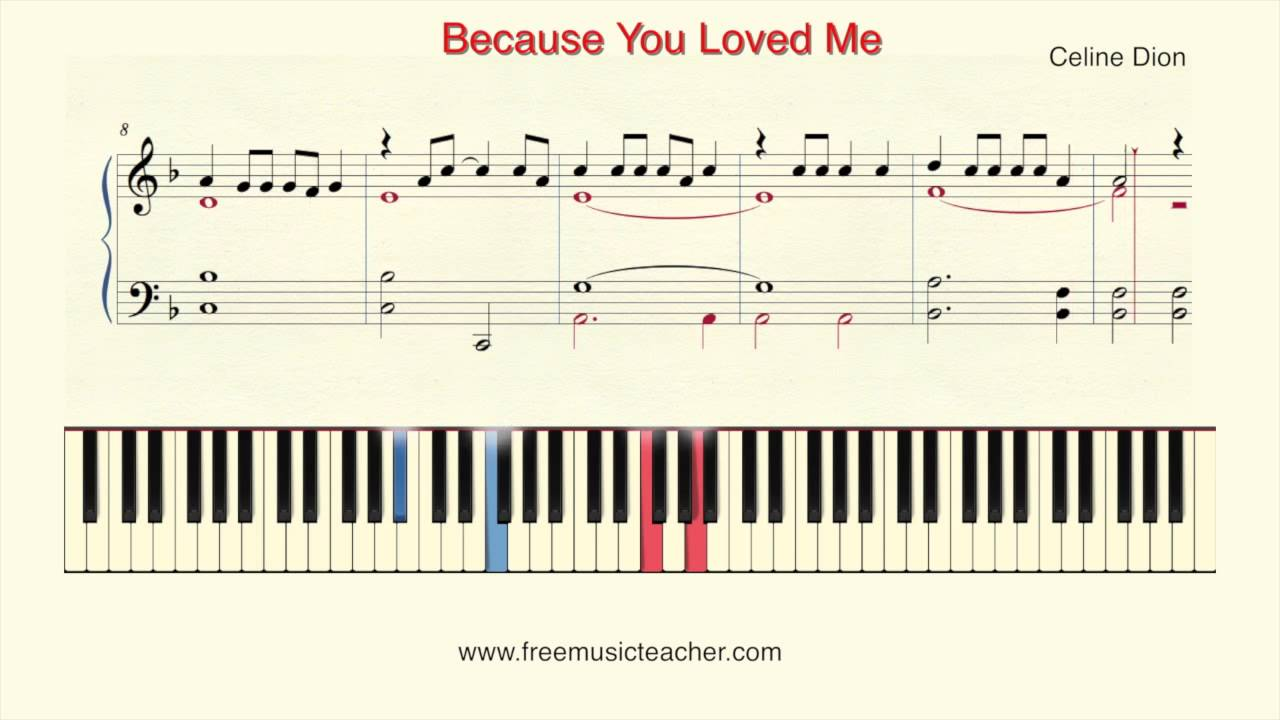 because you loved me piano sheet music free