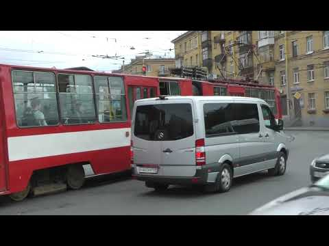 Driving around Saint Petersburg, Russia on a SPB Tour Bus