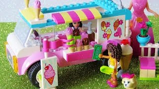 Toy ice cream truck Lego Friends Elsa Anna have chocolate strawberry Ice Cream playset