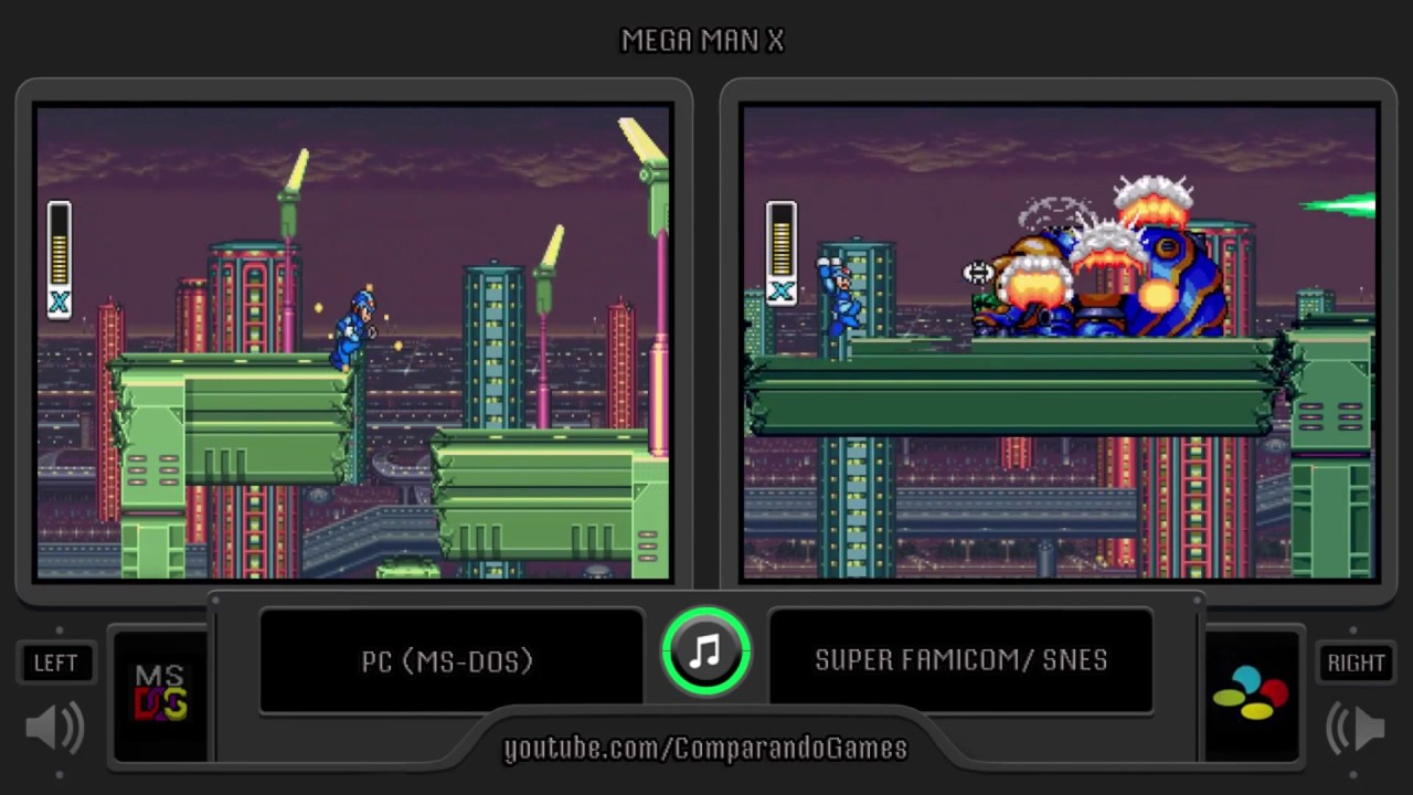 Mega Man X Pc Vs Snes Side By Side Comparison Ms Dos Vs