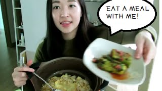 EAT WITH ME: CHEESE FRIED RICE (먹방 Mukbang inspired)