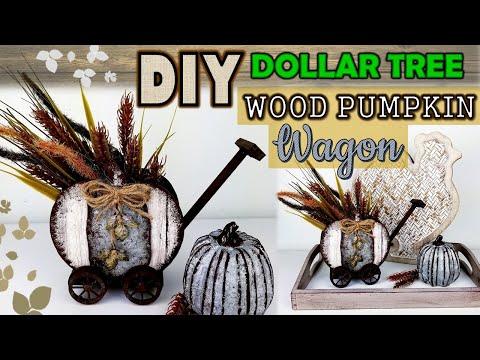 Dollar Tree DIY | Wood Pumpkin Wagon DIY | Farmhouse Fall Ideas 2019