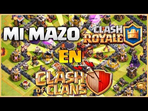 ATACANDO CON MI MAZO DE CLASH ROYALE EN CLASH OF CLANS - RETOS MIX #24