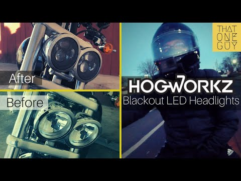 """Hogworkz 4.65"""" Blackout LED headlight - unboxing, install, and compare - Fat Bob mod #10"""