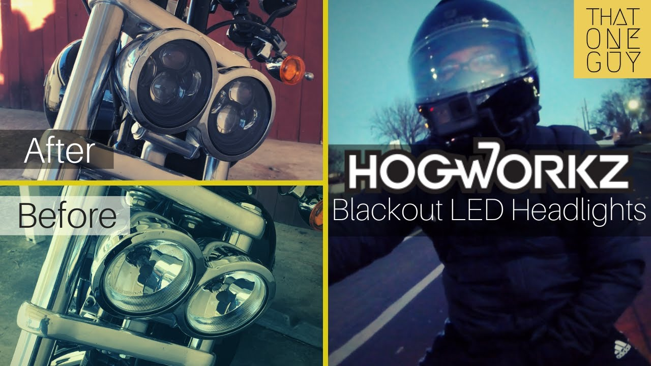 """Hogworkz 4.65"""" Blackout LED headlight - unboxing, install, and compare on"""