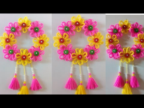 DIY easy woolen flower wall hanging!! DIY Room decor!! Wool craf ideas!! Best out of waste toran