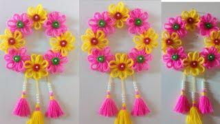 DIY easy woolen flower wall hanging!! DIY Room decor!! Wool craf ideas!! Best out of waste toran