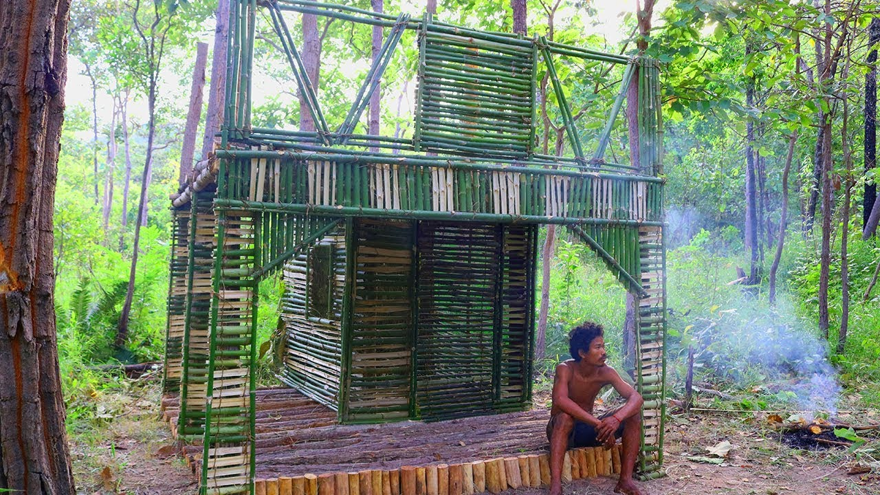 Primitive Technology - Build The Most Beautiful Bamboo House by Ancient Skills Part 1