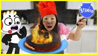 Giant Birthday Cake GONE WRONG! Ryan's Mommy Burns Combo Panda's Birthday Cake!