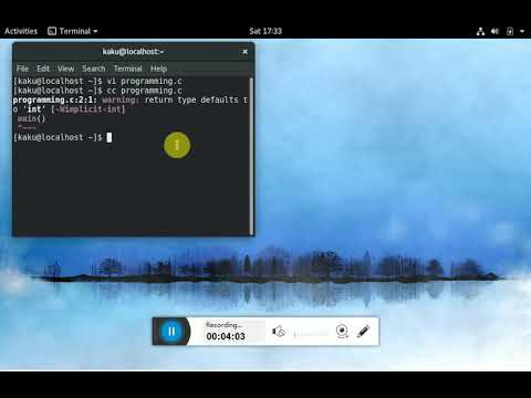 how to write c programme on terminal in fedora || not in text editor