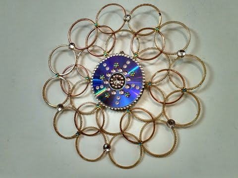 Wall hanging made out bangles best out of waste for Waste out of best from bangles