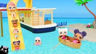 Las Munecas LOL y sus Hermanitas Bebe de Vacaciones en el Barco Crucero con Piscina Cat Juguetes