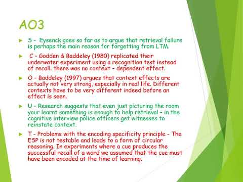 Explanations of forgetting - Memory AQA