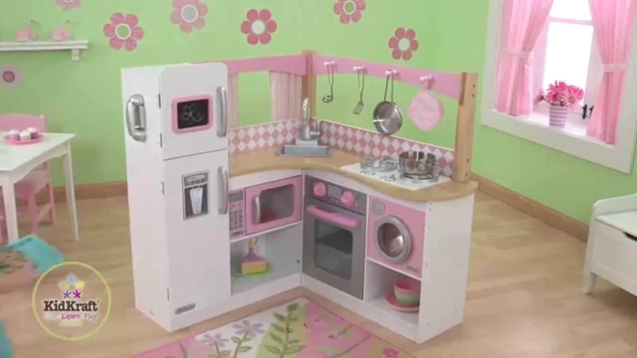 Grande cuisine d 39 angle en bois pour enfant kidkraft youtube - Comment fabriquer un coffre a jouet en bois ...