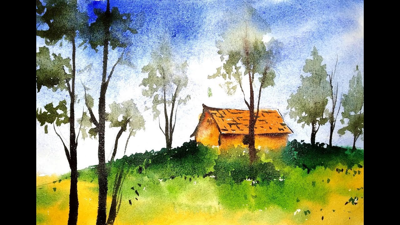 Simple Watercolor Landscape Painting For Beginners Paint With David Youtube
