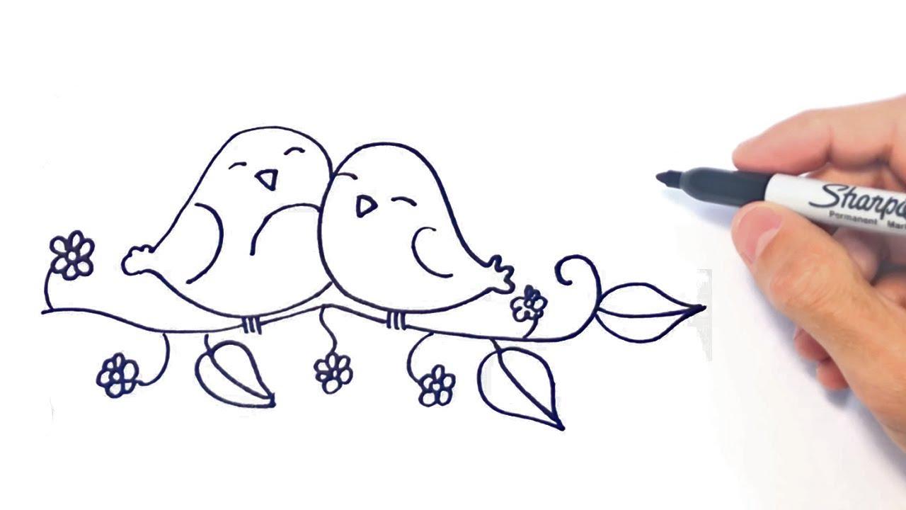 Como Dibujar Unos Pajaros Enamorados Dibujos De Amor Youtube