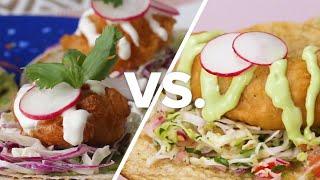 Crispy Beer Battered Fish Tacos vs. Shrimp Tacos