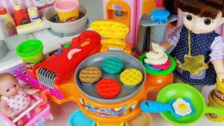 Baby doll and Play Doh waffle cooking toys surprise eggs house play - 토이몽