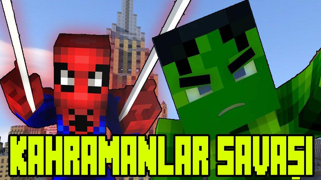 Minecraft Süper Kahraman Savaşları [ Spider-Man vs Hulk ]